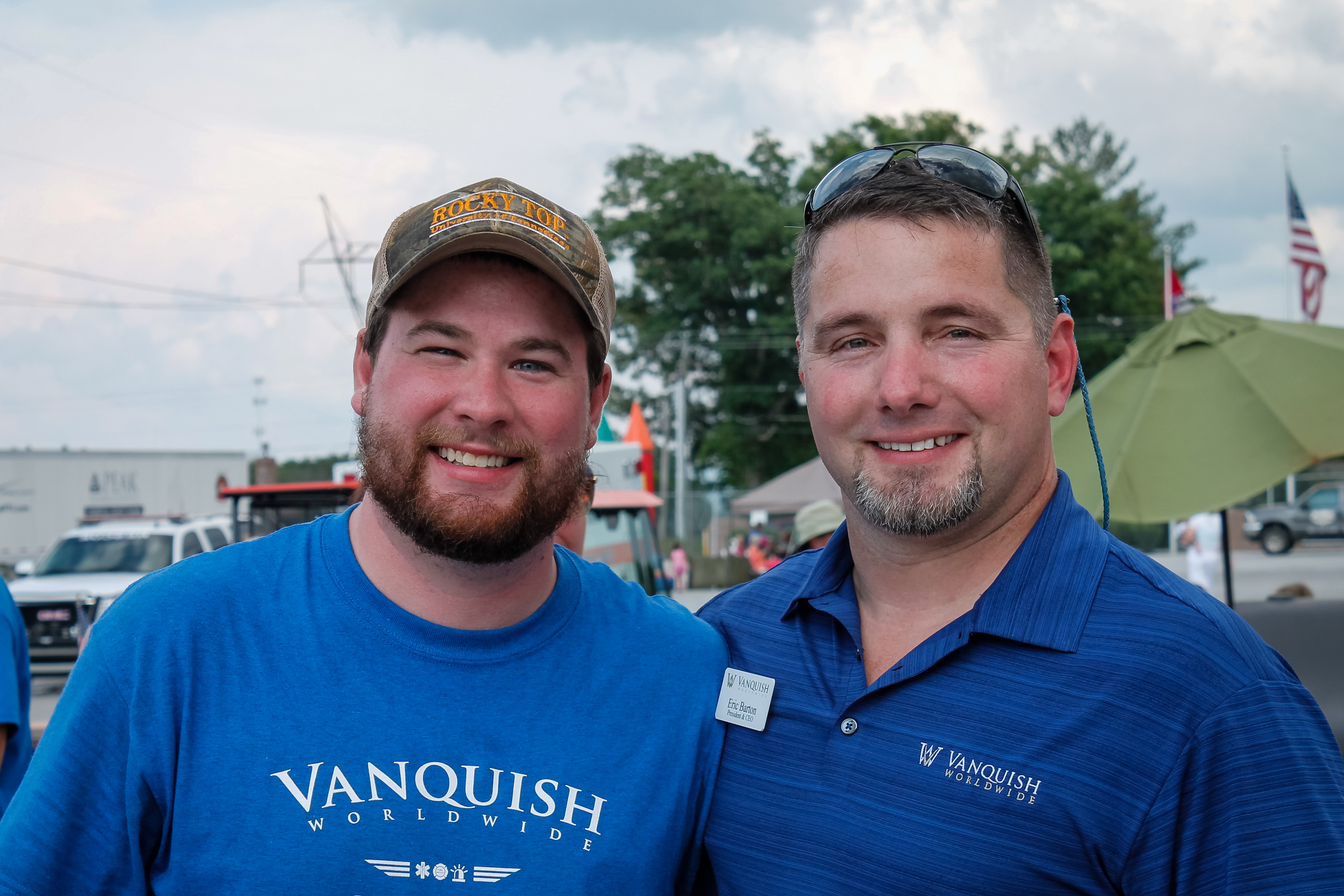Cody and Eric Barton pose for a photo during an Honoring Our Heroes event for law enforcement, firefighters and EMTs in 2015. The event was hosted by sister companies Vanquish Worldwide, LexLin Gypsy Ranch, Peak Technical Institute and Front Range Training and Consulting.